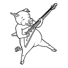 Rock Star Pig Printable to Color