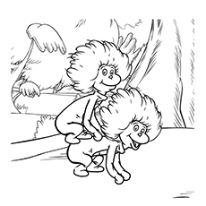 free printable thing one and thing two playing each other coloring page - Dr Seuss Coloring Pages