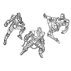 Iron Man in Three Character of Coloring Sheet