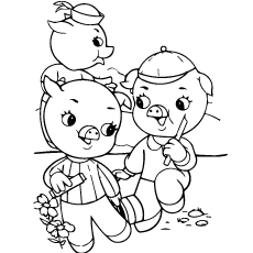 three little pigs printable coloring page
