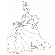Tiana Princess And The Frog Printable Coloring Pages