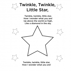 Twinkle Twinkle Little Star Rhyme Coloring Pages