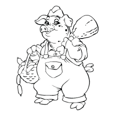 Funny Pig Butcher Carrying Load Coloring Page