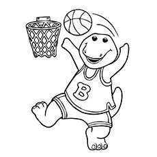 Barney Playing Basketball Coloring Pages
