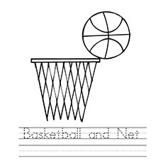 Coloring Sheet of Basketball And Net
