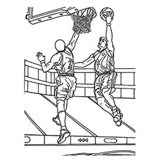 Player Trying to Block the Ball in Basketball Game Coloring Pages