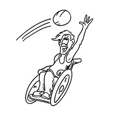 Coloring Sheets Of Child In A Wheelchair Playing Basketball