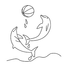 Coloring Pages Two Dolphin Playing In Water With Ball