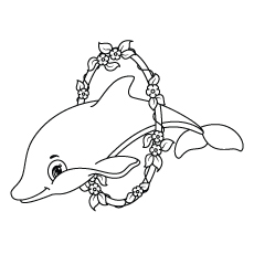 Dolphin Jumping through the Ring Coloring Pages