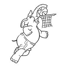 Elephant Putting Basketball in Goal Coloring Pages
