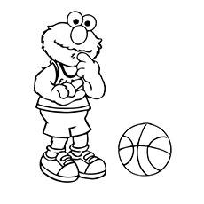 Elmo Playing Basketball to Color