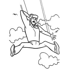 Scooby Doo Fred Jones Falling from Sky Coloring Pages