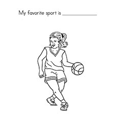 Girl Playing Basketball Coloring pictures