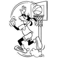 Goofy Playing Basketball Coloring Sheet