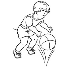 coloring pages of a kid playing basketball