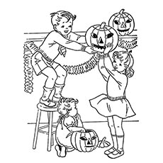 kids decorating for halloween pumpkin coloring pages