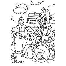 kids playing with pumpkin coloring pages - Fun Coloring Pages For Kids