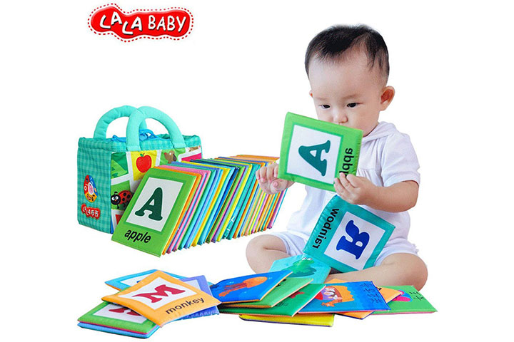 LALABABY 26 Letters Cloth Card with Cloth Bag