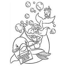 Beautiful Little Mermaid With Dolphin Coloring Pages