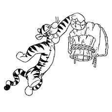 Tigger Putting Ball into Basketball Net Coloring Pages
