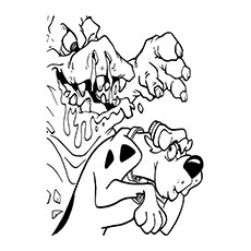 Mud Monster Scaring Scooby Doo Coloring Page