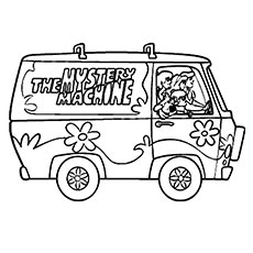 mystery machine coloring pages scooby doo