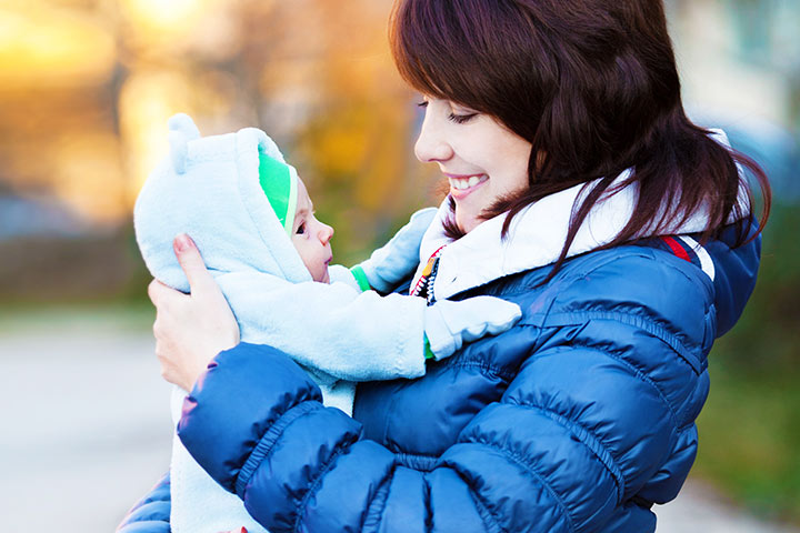 Newborn Baby In Winter