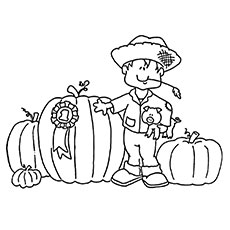 Pumpkin & Pilgrim Boy Coloring Page