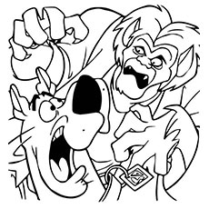 wolfman scaring scooby doo coloring pages to print