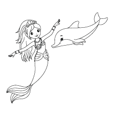 Mermaid and Dolphin Enjoying Coloring Pages
