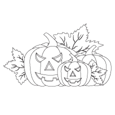 Pumpkins With Leaves Coloring Pages