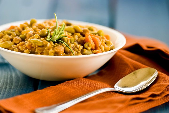 Lentils with carrots and brown rice (dal rice)