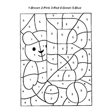 b for bear color the picture based on numbers - Printable Color By Number