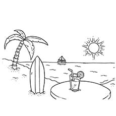 beach heat summer season - Summer Coloring Page