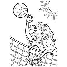 Girl Playing Beach Volleyball In Summer Climate Picture To Color
