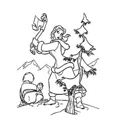 belle cutting the christmas tree coloring page