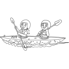 Summer Coloring Page of Boy And Girl Paddling With Canoe At Beach
