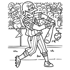 Baseball Match Coloring Page Boy Hitting The Ball