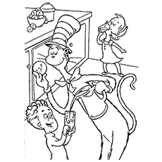 Cat Performing The Balancing Act Coloring Pages