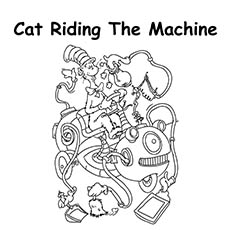 Cat Riding The Machine