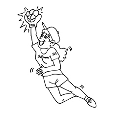 Boy Catching The Ball Coloring Page