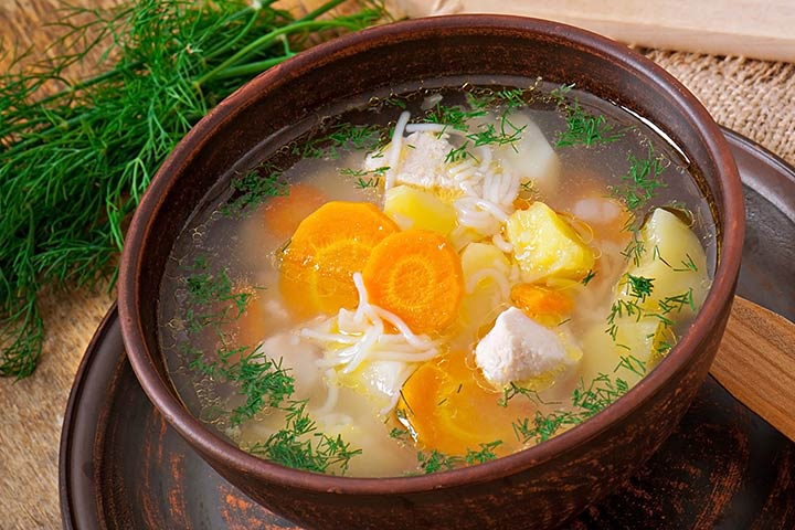 Chicken Broth With Vegetables And Herbs