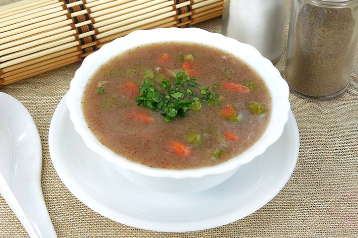 Chicken and finger millet (ragi) porridge