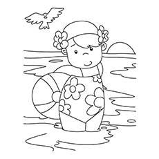 child enjoying in the pool image to color - Summer Coloring Page