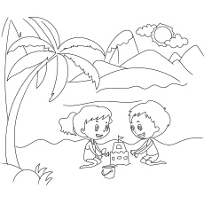 Children Playing Sandcastle on Beach during Holiday Season Summer Coloring Page