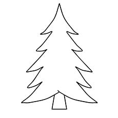 coloring page of christmas tree card template for kids