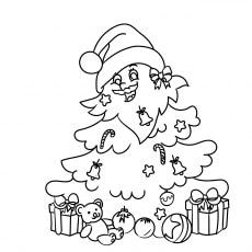 Christmas Tree Decorated as Santa