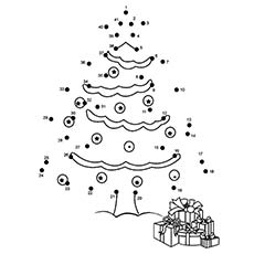 coloring sheet of christmas tree connect dot to dot