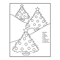 Christmas Tree Image to Color it Mention Numbers