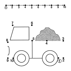 Connect The Dots to Complete the Truck Coloring Page